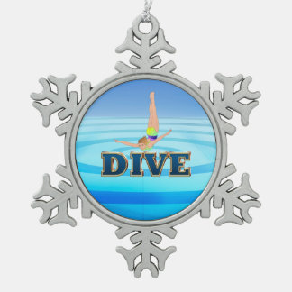 TOP Dive Snowflake Pewter Christmas Ornament