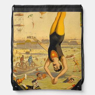 TOP Diving Slogan Drawstring Bag