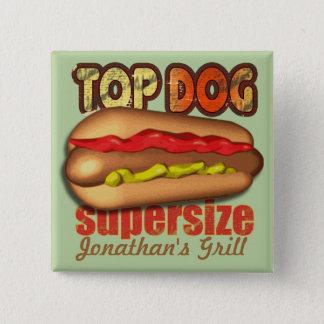 Top Dog Hotdog Personalized 2 Inch Square Button