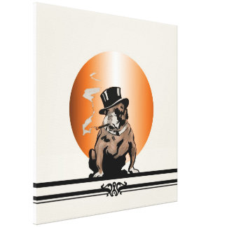 Top Dog Vintage Bulldog with Cigar and Top Hat Canvas Print
