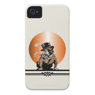 Top Dog Vintage Bulldog with Cigar and Top Hat iPhone 4 Case-Mate Cases