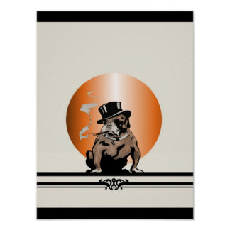 Top Dog Vintage Bulldog with Cigar and Top Hat Poster