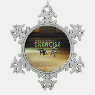 TOP Exercise Slogan Snowflake Pewter Christmas Ornament
