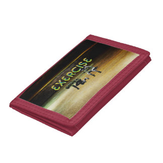 TOP Exercise Slogan Tri-fold Wallets