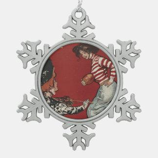 TOP Football Girl Snowflake Pewter Christmas Ornament