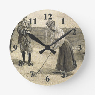 TOP Golf Girl Round Clock