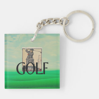 TOP Golf Old School Double-Sided Square Acrylic Keychain