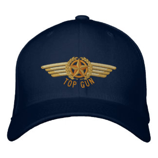 Top Gun Aviation Star Laurels Pilot Wings Embroidered Hats