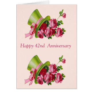 Top hat and flowers, Happy 42nd  Anniversary Card