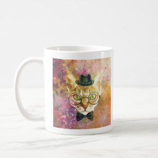Top Hat Cat in Glasses and  Bow Tie Coffee Mug