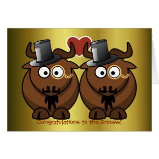 Top Hat Gnu Gay Wedding Card for Grooms