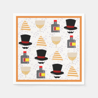 Top Hat New Year Party Cocktail Napkins