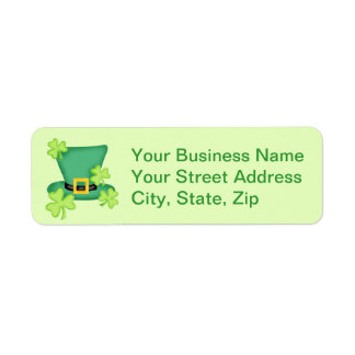 Top Hat Shamrocks Lime Green Sticker Return Address Label