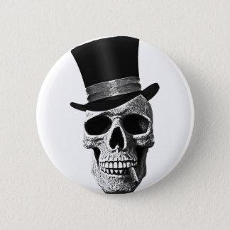 Top hat skull 2 inch round button