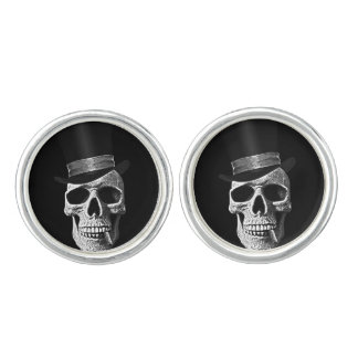 Top hat skull cuff links