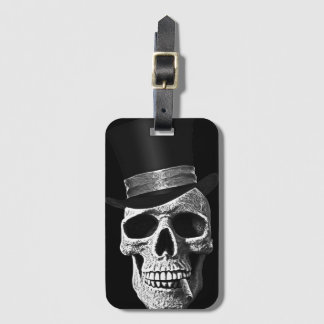 Top hat skull luggage tag