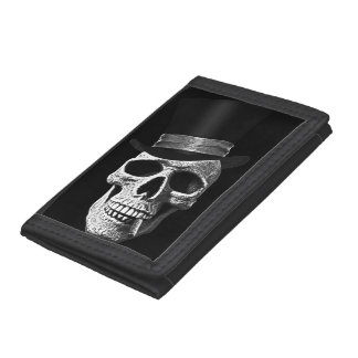 Top hat skull tri-fold wallet