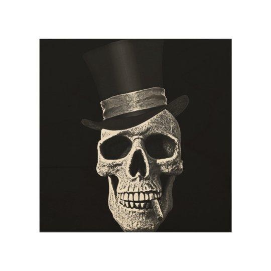 Top hat skull wood wall art