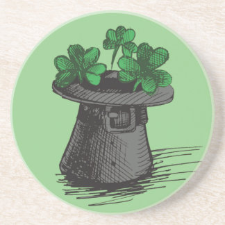 Top Hat With Shamrock Clovers Coaster