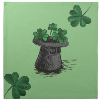 Top Hat With Shamrock Clovers Napkin