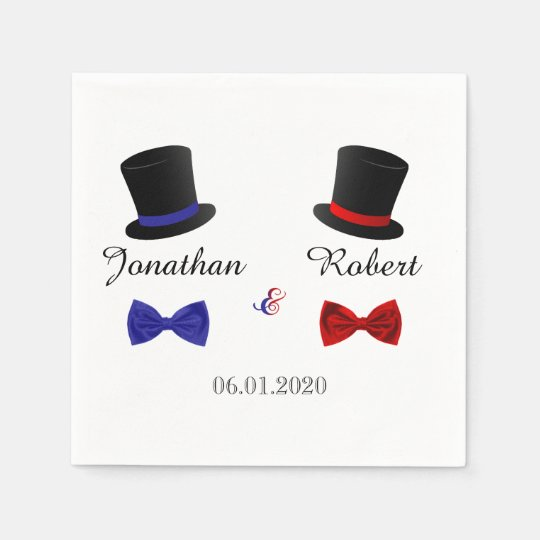 Top Hats and Bow Ties Gay Red Blue Wedding Napkin