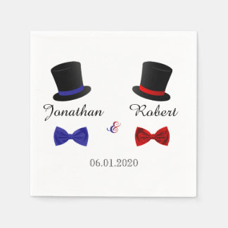 Top Hats and Bow Ties Gay Red Blue Wedding Napkin Disposable Napkin