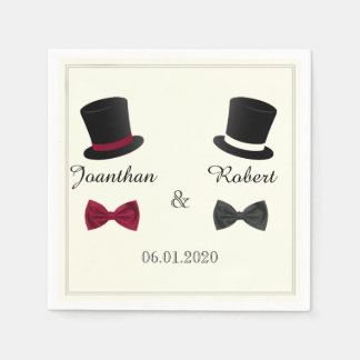 Top Hats and Bow Ties Gay Wedding Napkin Disposable Napkin