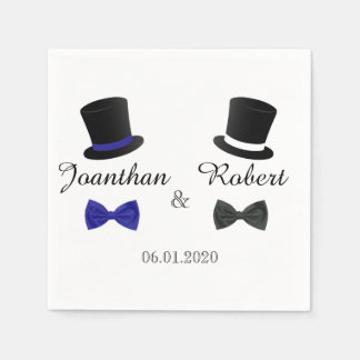Top Hats and Bow Ties Gay Wedding Napkin Paper Napkins