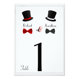 Top Hats and Bow Ties Gay Wedding Table Number Card