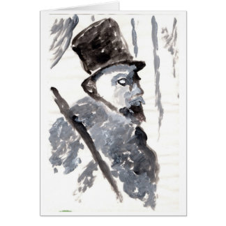 Top-hatted gentleman in black and gray note card