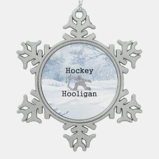 TOP Hockey Hooligan Snowflake Pewter Christmas Ornament