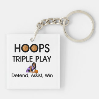 TOP Hoops Triple Play Double-Sided Square Acrylic Keychain