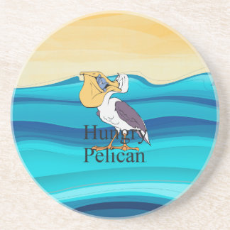 TOP Hungry Pelican Beverage Coasters