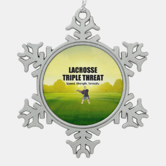TOP Lacrosse Triple Threat Snowflake Pewter Christmas Ornament