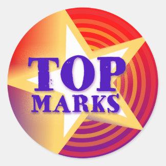 Top marks star sticker praise red/mauve