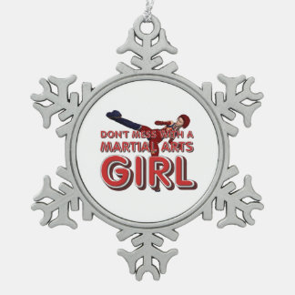 TOP Martial Arts Girl Pewter Snowflake Ornament