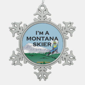 TOP Montana Skier Snowflake Pewter Christmas Ornament
