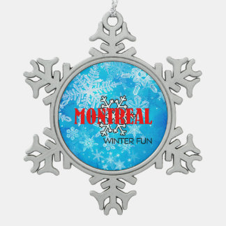 TOP Montreal Winter Fun Snowflake Pewter Christmas Ornament