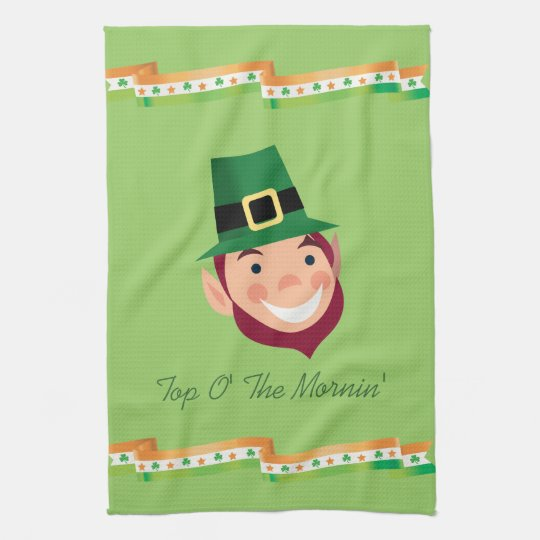 Top O' The Mornin' Irish Leprechaun Kitchen Towel