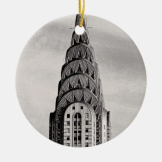 Top of the Chrysler Building NYC - B&W Ceramic Ornament