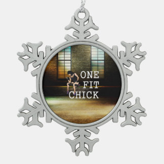 TOP One Fit Chick Snowflake Pewter Christmas Ornament