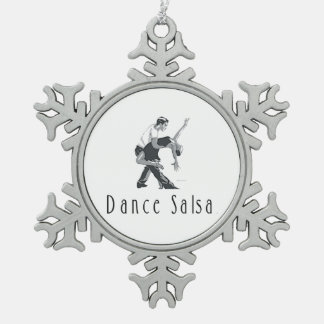 TOP Salsa Dance Snowflake Pewter Christmas Ornament