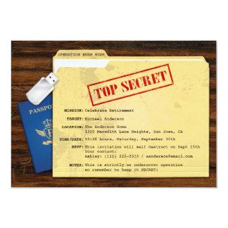 """Top Secret Agent Mission Surprise Retirement Party 5"""" X 7"""" Invitation Card"""