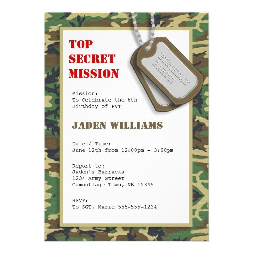 Top secret camouflage camo birthday party invitation for Camouflage party invitation template