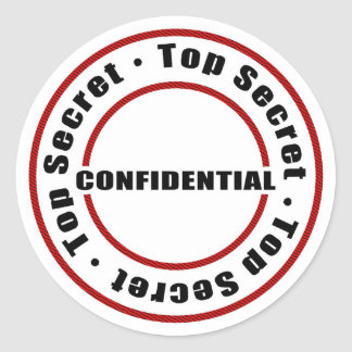 Top Secret Confidential Red Black White Classic Round Sticker
