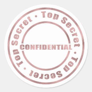 Top Secret Confidential Rose Gold Modern Glam Classic Round Sticker