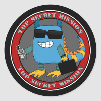 TOP SECRET MISSION ROUND STICKER