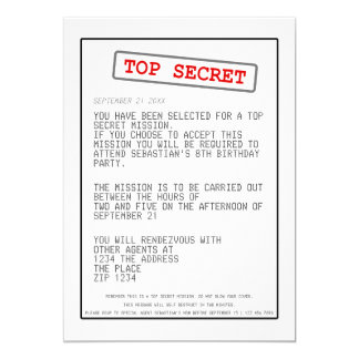 "Top Secret Special Agent Spy Surprise Party 5"" X 7"" Invitation Card"