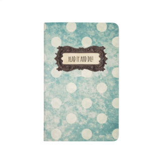 Top Secret | Vintage Blue Polka Dots Text Monogram Journal