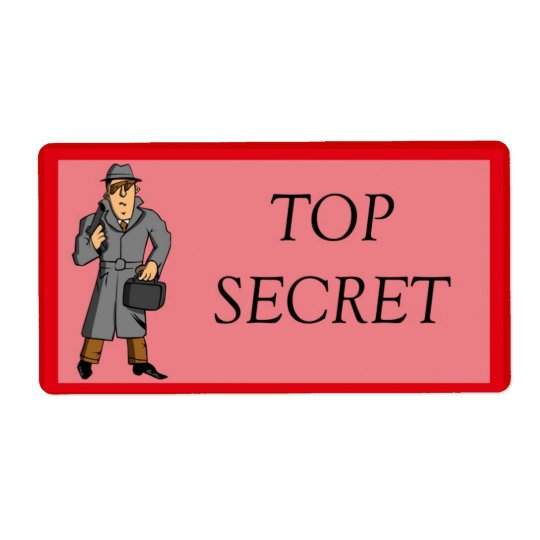 Top Secret With Spy Shipping Label
